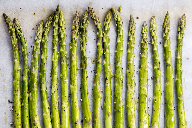 Asparagus spears with garlic grapeseed oil and rancher steak rub.