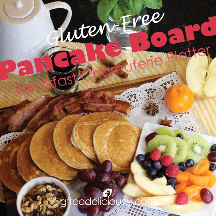 Gluten-Free Pancake Board (Breakfast Charcuterie Platter) social share graphic 728x728px