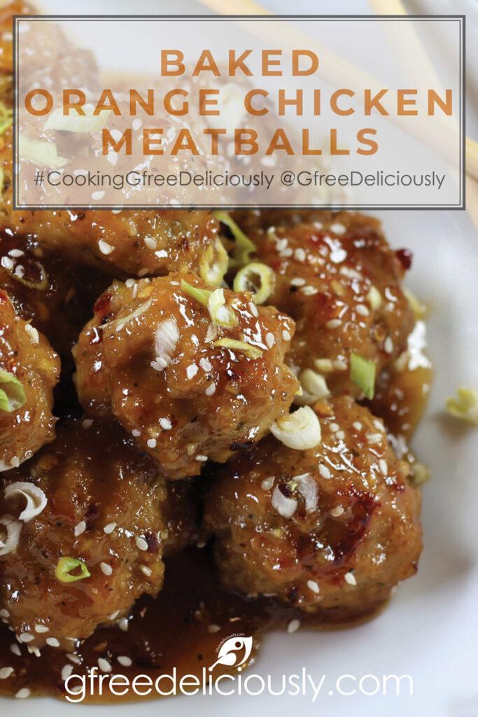 Baked Orange Chicken Meatballs on a plate with chopsticks. Pinterrest Share image 800x1200 px