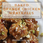 Baked Orange Chicken Meatballs on a plate with chopsticks. Social share image 728x728 px