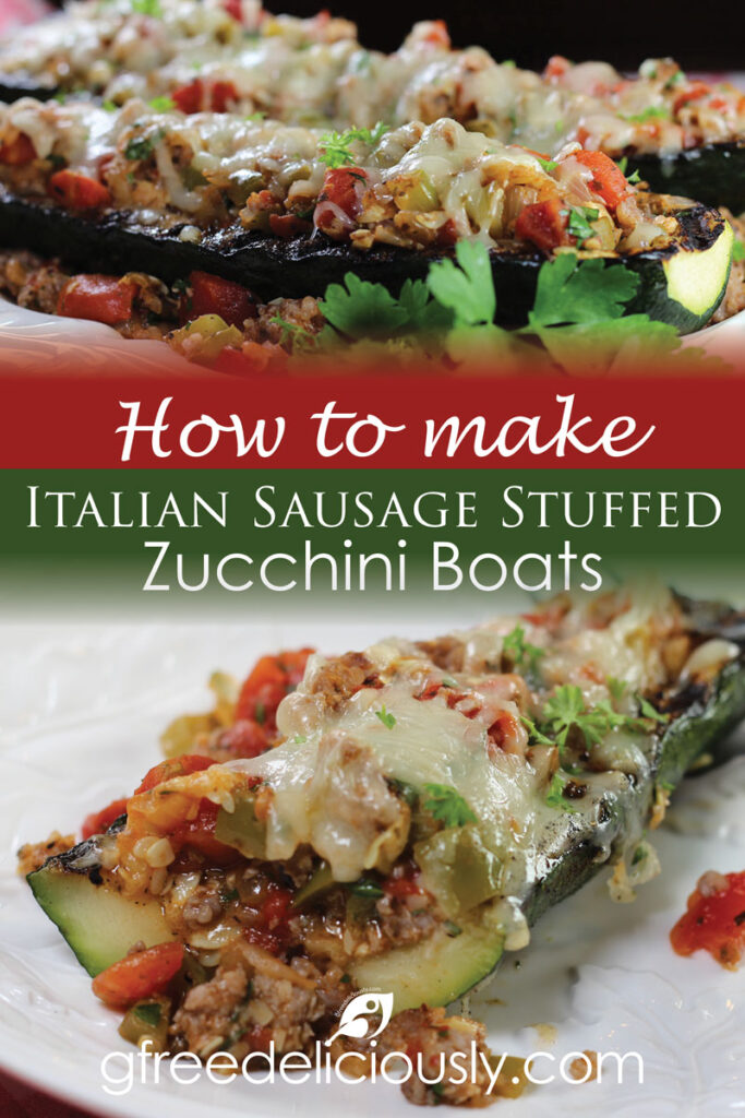 How to Make Grilled Italian Stuffed Zucchini Boats Pinterest Graphic 800x1200px
