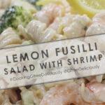 Lemon Fusilli Salad with Shrimp background Pinterest sharing image 800x1200 px