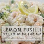 Lemon Fusilli Salad with Shrimp background social sharing image 728x728 px