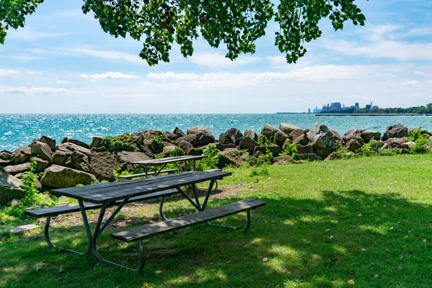 Shaded Picnic Table at a Park along Lake Michigan in Evanston, Illinois.