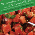 A serving bowl with Watermelon, Mint, and Feta with Kalamata Olives Pinterest Share Graphic 800x1200px