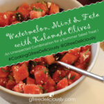 A serving bowl with Watermelon, Mint, and Feta with Kalamata Olives Social Share Graphic 728x728px