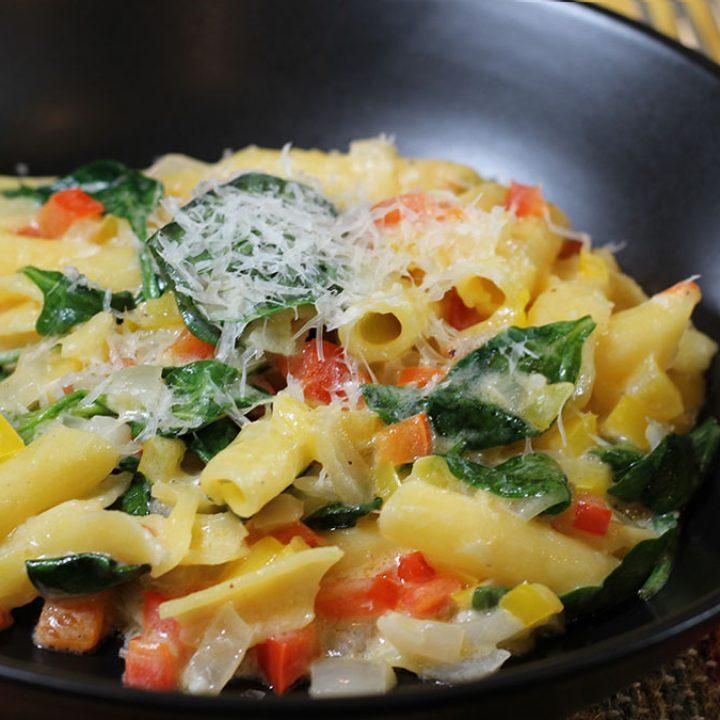 Closeup of Mascarpone & Pepper Penne Pasta in a bowl